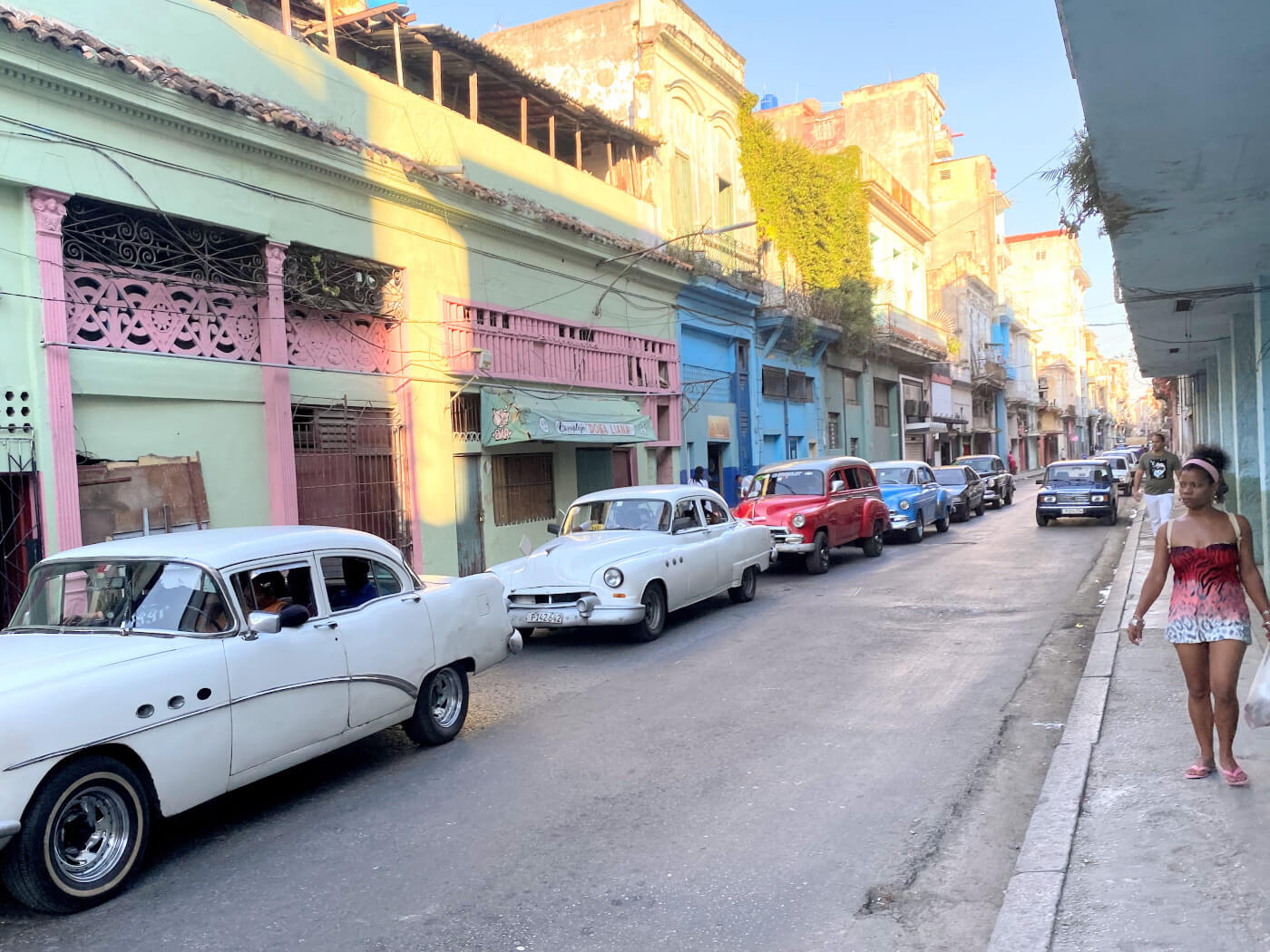 Charmerende gade i Havana (Cuba) med flotte amerikaner biler