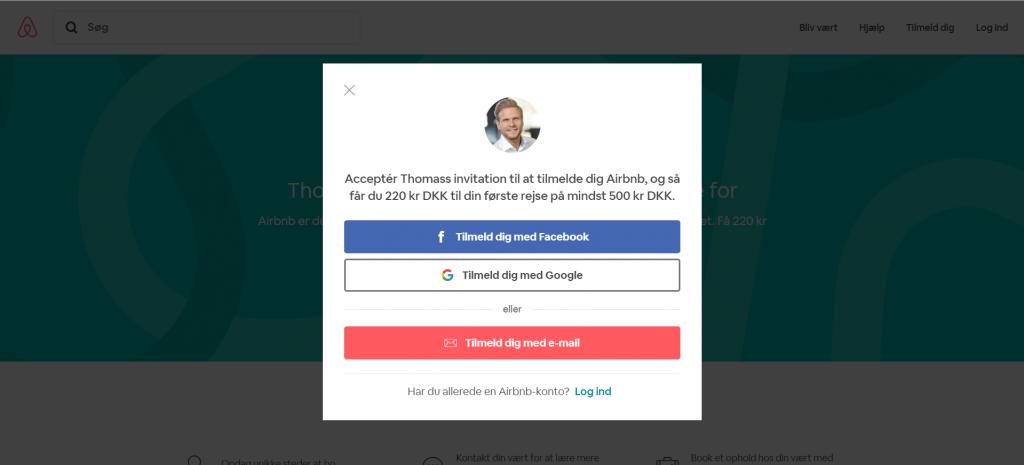 Vælg hvordan din Airbnb konto skal oprettes